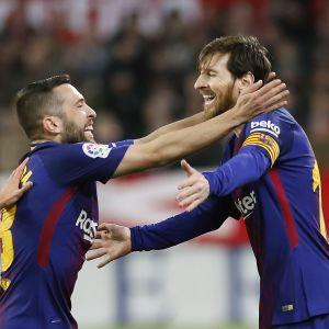 FC Barcelona firar med Lionel Messi.