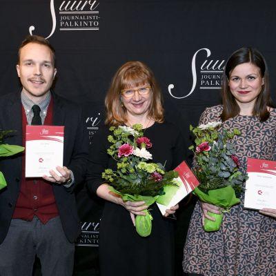 Vuoden journalisti - ehdokkaat Olli Seuri,Yle, Heljä Salonen, Iltalehti ja Sonja Saarikoski, free-toimittaja