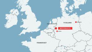 Karta över mellaneuropa med staden Meerbusch markerad.