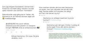 Inlägg om fotbollsdomaren Mattias Gestranius på sociala medier.