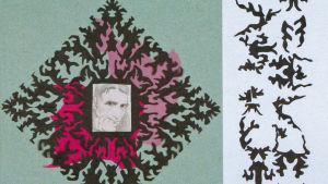 """Frida Packalén, """"Hommage à Gunnar Björling"""". Collage av blyertsteckning, silkespapper och pappersklipp, 2011."""