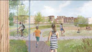 Tecknad bild visualiserar hur det kan se ut på bostadsmässoområdet i Hiidensalmi i Lojo. Barn och vuxna går, springer och cyklar i ett somrigt bostadsområde. Sommar och grönska. I bakgrunden syns flervåningshus.