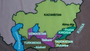 Kartta Keski-Aasian neuvostotasavalloista