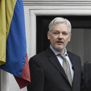 Julian Assange talar till journalister från ambassadbalkongen i London i februari 2016