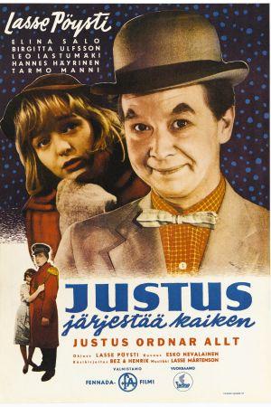 """Kotimainen elokuva """"Justus järjestää kaiken"""", elokuvan juliste"""