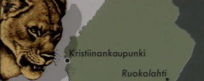 Suomen kartta ja vasemmalla leijonan kuva.