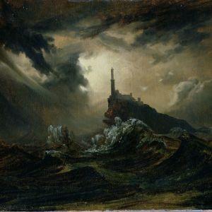 Carl Blechen: Sturmische See mit Leuchtturm
