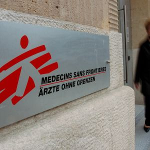 MSF:s skylt utanför högkvarteret i Genève.