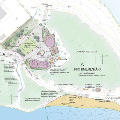 Havainnekuva Pirttiniemenkärjen tulevasta leikkipuistosta ja uimarannasta.