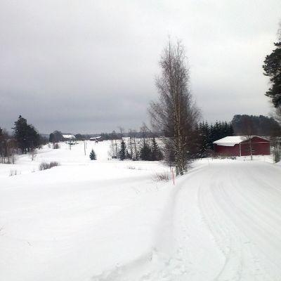 Luminen maalaismaisema talvella