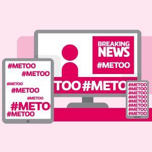 En grafisk bild där det står #metoo i en mobil, tv, lapotop och tablett.