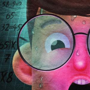 piirretty mies hikoilee matematiikan äärellä