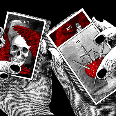 tarot-kortit, ennustaminen, kädet, artikkelikuva, mustat kynnet