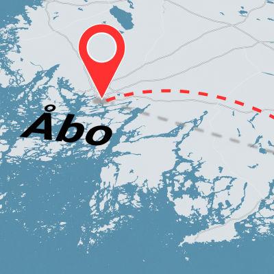 En bild på en karta med texten Åbo.
