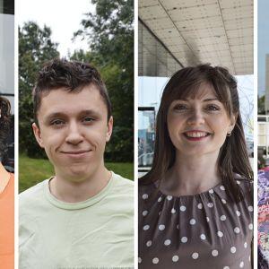 Fyra personer står och ler mot kameran.
