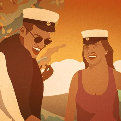 Illustration av en manlig och en kvinnlig student i höstlandskap
