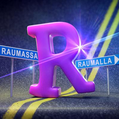 R-kirjain tiellä, kyltit Raumassa ja Raumalla.