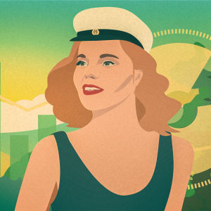 Illustration av en kvinna med studentmössa framför olika grafer.