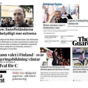 Tidningsrubriker från världen över om riksdagsvalet i Finland.