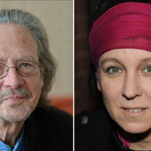 Fotomontage. Nobelpristagarna i litteratur, åren 2018 och 2019.