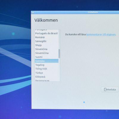 Följande steg är att välja vilket språk för din Linuxinstallation