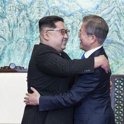 Pohjois-Korean johtaja Kim Jong-Un (vas.) ja Etelä-Korean presidentti Moon Jae-Inin.