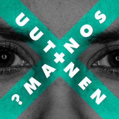 Naisen silmät, sanat mainos ja uutinen kuvan päällä.