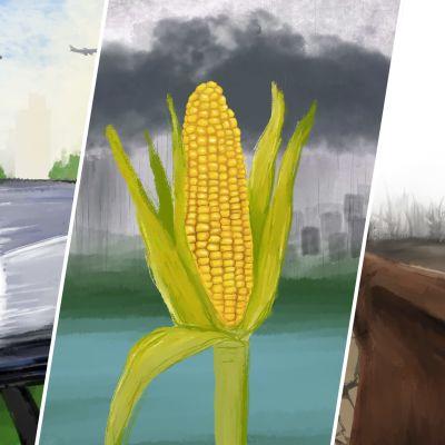 Näkymiä eri tulevaisuusskenaarioista: päästötöntä energiaa, geenimanipuloitu maissi ja sepän työkalut.