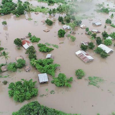 Övervämmade områden efter cyklonen Idai nära staden Beira