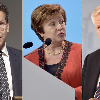 De tre toppkandidaterna som spås efterträda Christine Lagarde: Jeroen Dijsselbloem, Kristalina Georgieva och Olli Rehn.