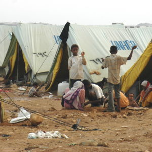 The war-affected displaced Yemenis are in a camp set up by the UNHCR in northern Yemen