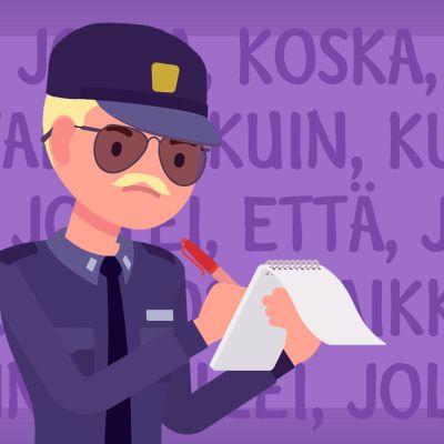 Kaksi poliisipiirroshahmoa, jotka ovat kirjoittamassa sakkoa kielioppivirheestä.