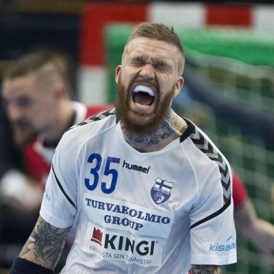 Teemu Tamminen frustrerad, Finland-Slovakien, januari 2018.