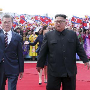 Moon Jae-In hälsades välkommen av Kim Jong-Un och hundratals flaggviftande, festklädda nordkoreaner
