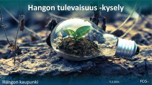 En bild som visar en glödlampa på marken och inuti lampan växer något grönt. Marken i övrigt är brun och död. Överst på bilden står det Hangon tulevaisuus -kysely, på svenska Hangös framtidsenkät.