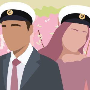 Grafik på manlig och kvinnlig figur med studentmössa