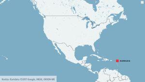 Karta över nord- och mellanamerika med Barbuda markerat.