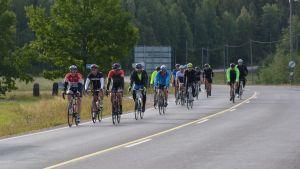 En klunga cyklister på landsvägen nära Gammelby.