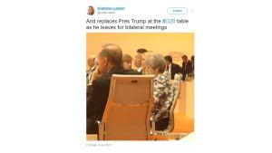 En suddig bild på Ivanka Trump som sitter vid förhandlingsbordet under G20-mötet. På varsin sida om henne sitter Kinas president Xi Jinping och Storbritanniens premiärminister Theresa May.