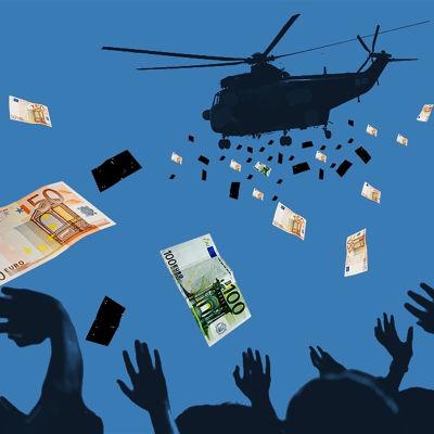Helikopterpengar, en metafor för att trycka pengar och ge till alla invånare