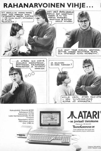 Atarin mainos vuodelta 1987. Sarjakuvamuotoon tehdyssä mainoksessa esiintyvät Mikko Alatalo ja hänen poikansa.