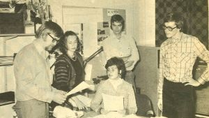 Radio Östnylands Borgåredaktion år 1974.