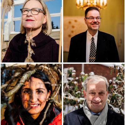 Bildcollage med kandidaterna till ny borgmästare i Helsingfors.