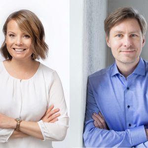 Vasemmalla VTT, dosentti Mari K. Niemi, tutkimusjohtaja, E2 Tutkimus VTT ja oikealla dosentti Ville Pitkänen, vanhempi tutkija, E2 Tutkimus.