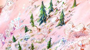 Landskap. Tavla från Bo Haglunds utställning Heaven is a place on earth på Galleri Jangva i Helsingfors (detalj)