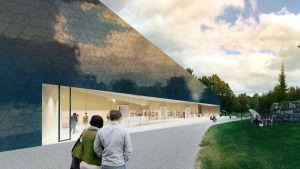 Arkitektritning på Kyrkslätts biblioteks nya fasad mot kyrkans stenmur.