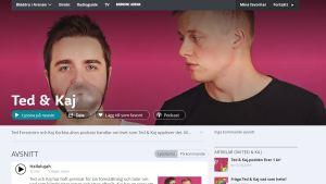 Skärmdump av Ted & Kajs podd på Yle arenan.