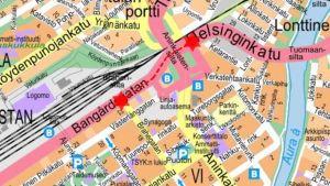 Karta över vägarbete i Åbo.