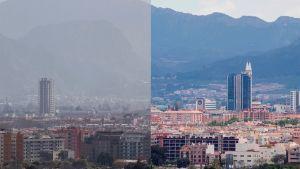 Luftkvaliteten i Murcia 29.2.2020 och 23.4 efter 40 dagars nedstängning.