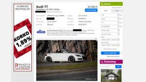 En skärmdump från nettiauto.fi